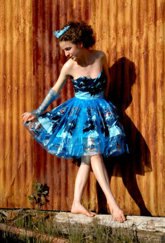 "Ice Princess — a classic 1950s-style frock made from ""party ice"" bags"