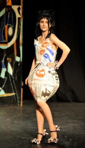"A Page A Day — ""lantern"" dress made from page-a-day calendar pages"